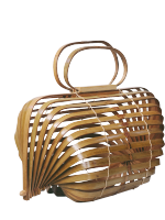 Unique Bamboo Basket Bamboo Bag Hollow Beach Bag Handbag Foldable Bag Rotatable Axis Design A4525