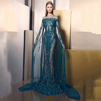 Generous O Neck Beaded Bling Bling Stones Sheer Mermaid Evening Dresses With Cape