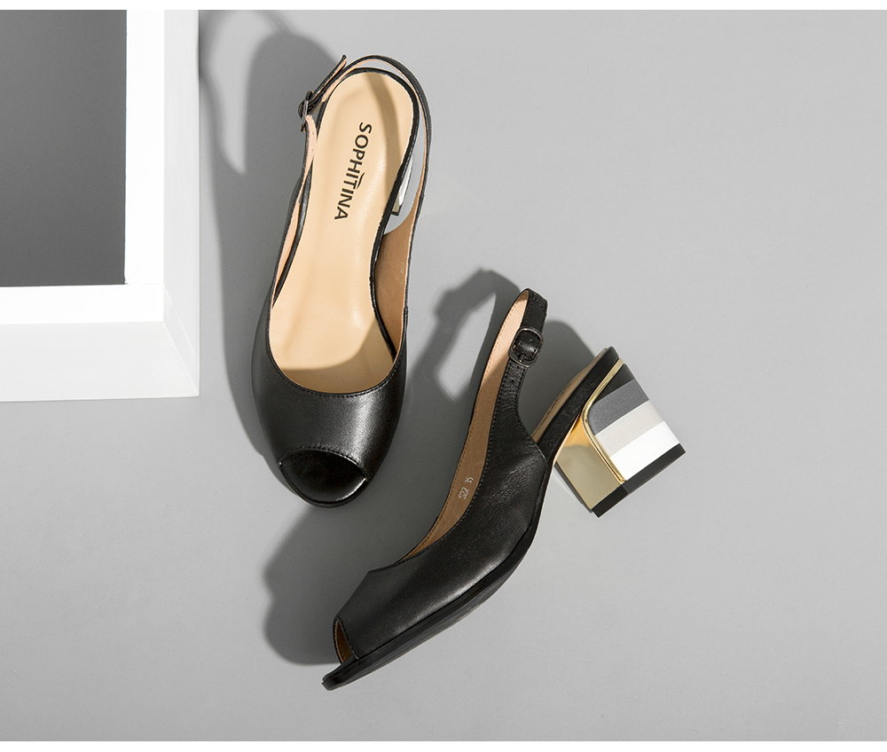 HTB1JozwXa5s3KVjSZFNq6AD3FXa1 SOPHITINA Sandals Handmade Genuine Leather 2019 New Sexy Lady Peep Toe Sandals Square Heel Buckle Strap Classics Shoes Woman S22