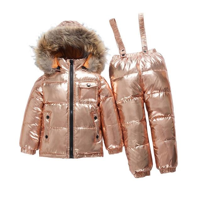 bf212b5ec 2~6Y Baby Russian Down Winter Ski Clothing Set Real Fur Down Jacket ...