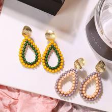 Bohemian Resin Beads Drop Earrings For Women 2019 New Statement Pendientes Fashion Jewelry Wholesale