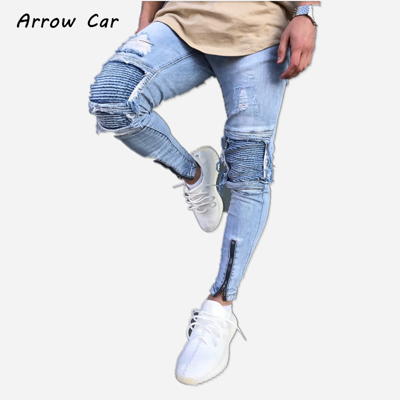 ARROW CAR Mens Skinny Jeans Light Blue Hole Locomotive Trends Denim Pants High Stretch Mid-rise Casual Long Trousens