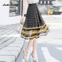 1pcs Hight waist skirts Womens Plus size A-line 2019 Summer Fashion Chiffon prints Splicing skirt Ladies Casual