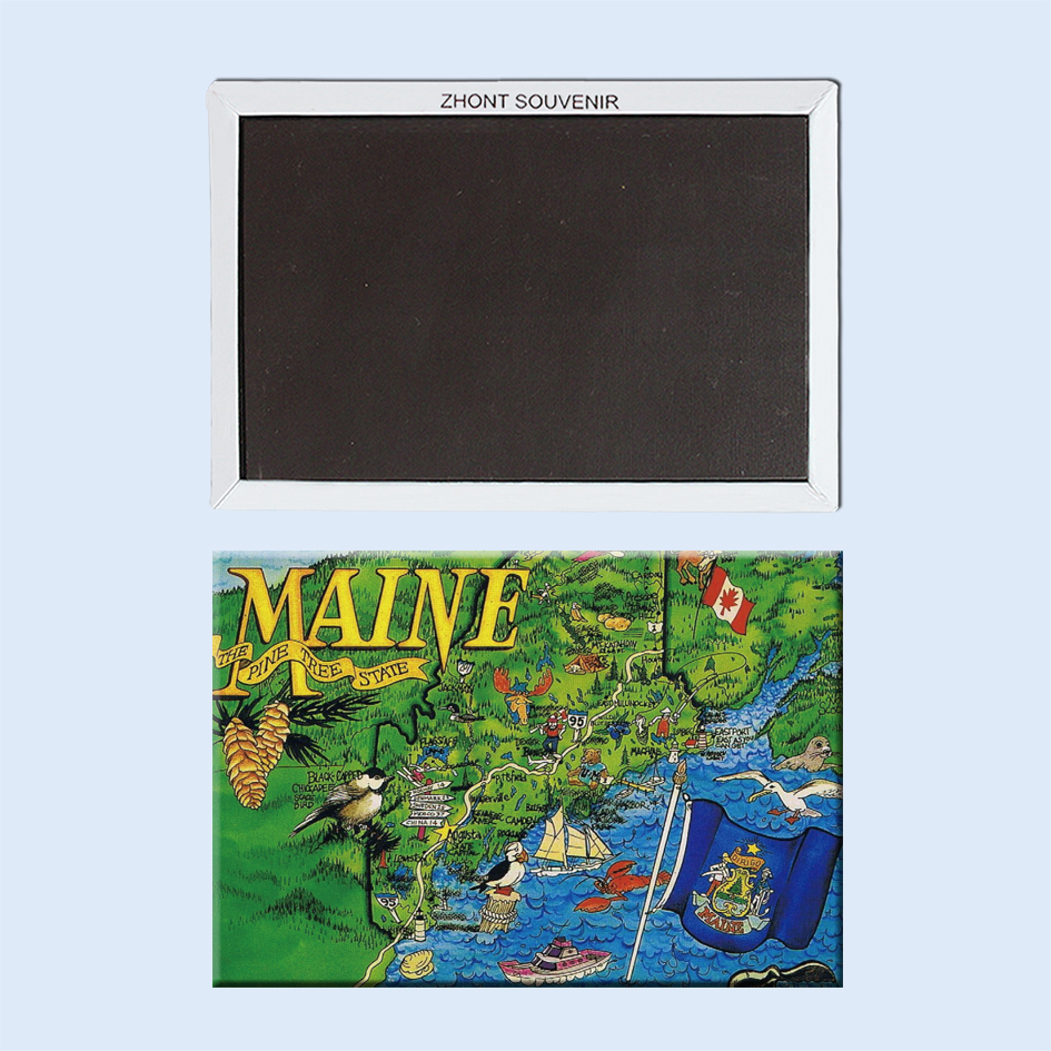 Decorative Fridge Magnets The Pine Tree State Maine Map Pictures Wholesale/retail welcome 22174 Vintage Image