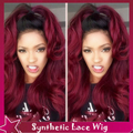 Synthetic Lace Front Wig Body Wave Natural Wavy Cheap Synthetic Wigs Black To Burgundy Ombre Sexy Lace Front Wig For Black Women