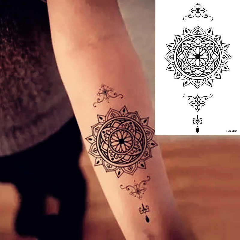 a74359e1c Waterproof Temporary Tattoo Sticker sexy lotus mandala totem tattoo Water  Transfer fake tattoo flash tattoo for