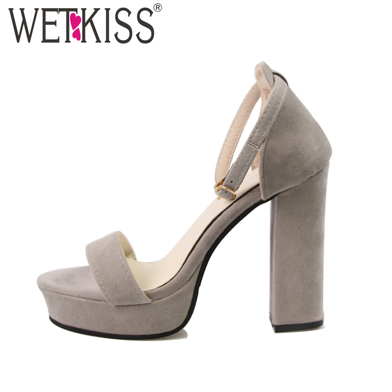 2018 Fashion Summer Sandals Women Thick Heel Platform Sandals Ankle Strap Flock High Heels Dress Shoes Cover Heel Open toe Shoes xiaying smile summer woman sandals platform wedges heel women pumps buckle strap fashion mixed colors flock lady women shoes