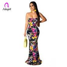 цена на Floor Length Dress Boho Sleeveless Floral Print Maxi Dress Women Sexy Slim Long Dress Off Shoulder Strapless Evening Party Dress