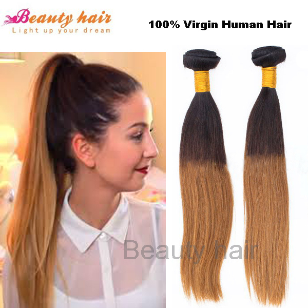 Brazilian remy ombre hair extensions 100g straight hair weave dip brazilian remy ombre hair extensions 100g straight hair weave dip dye two color blonde color 12 solutioingenieria Images