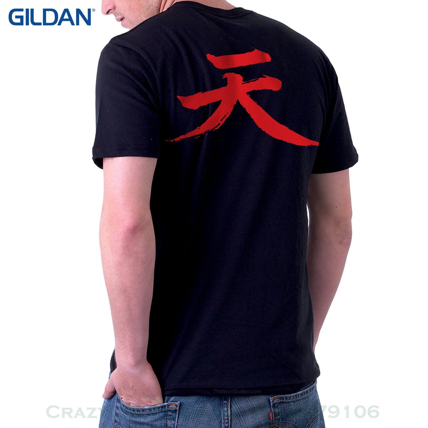 Short Sleeves Cotton T Shirt Free Shipping Theshirtdudes Akuma Street Fighter - Adult T-shirt For Cosplay (back)