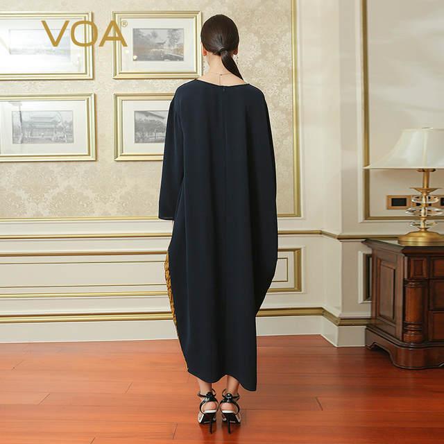 3f0de5b1d0ee5 placeholder VOA Deep Navy Blue Loose Plus Size Women Silk Long Dress Gold  Edging Muslim Casual Robe