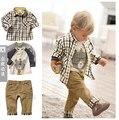 Na primavera e no outono do bebê calças de menino camisa xadrez + calças + crianças de mangas compridas t-shirt camisa da roupa do bebê roupas de três - conjunto de peças