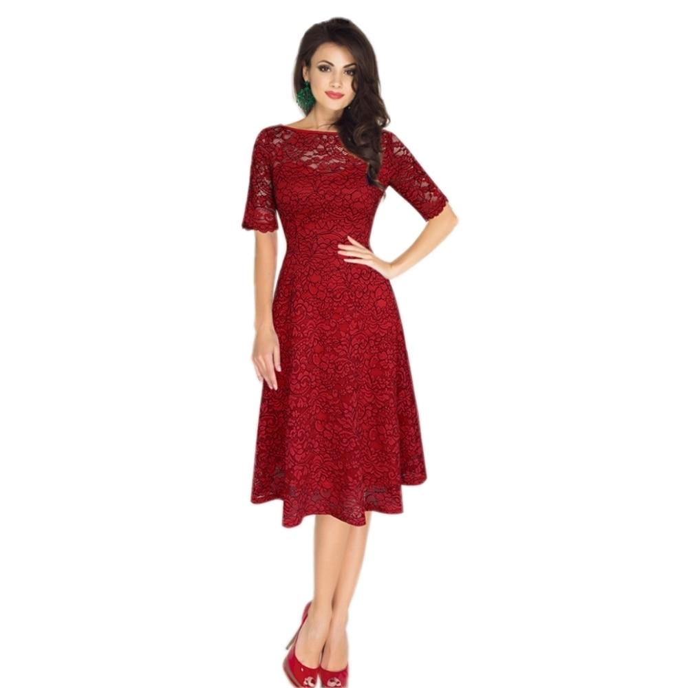 Aliexpress Com Buy Elegant Flare Sleeve Wedding Dress: FD3713 Lady Elegant Lace Fit&Flare Dress Vestidos Robe