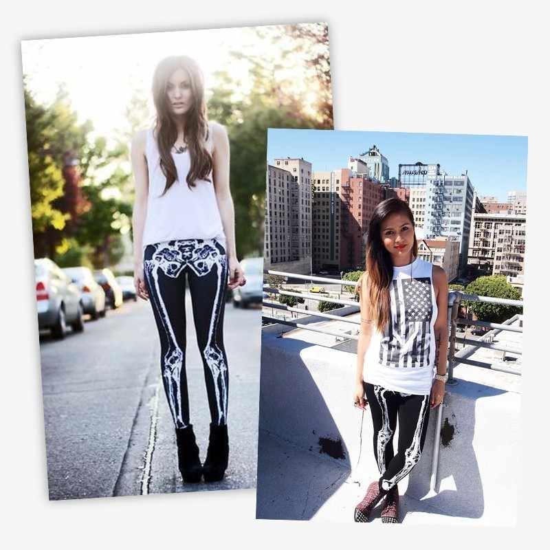 FCCEXIO yeni marka 3D baskılı Retro kemikler siyah iskelet seksi kadınlar Casual Punk Rock legging yüksek bel pantolon spor tayt