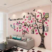 2019 Sticker mural acrylique miroir Photo mur créatif famille 3D bricolage Stickers muraux 1pc arbre forme maison autocollants adesivo de parede