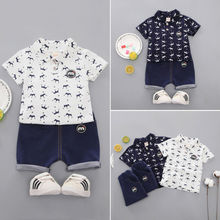 2PCS 2019 New Brand Toddler Kids Boys Clothes Small Crown Blouse Shorts Pants Outfit Set Summer 1-5Y