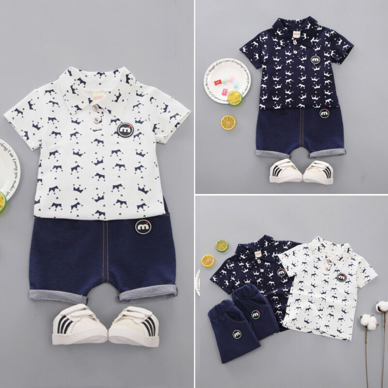 >2PCS 2019 New Brand Toddler Kids Boys <font><b>Clothes</b></font> <font><b>Small</b></font> <font><b>Crown</b></font> Blouse Shorts Pants Outfit Set Summer 1-5Y