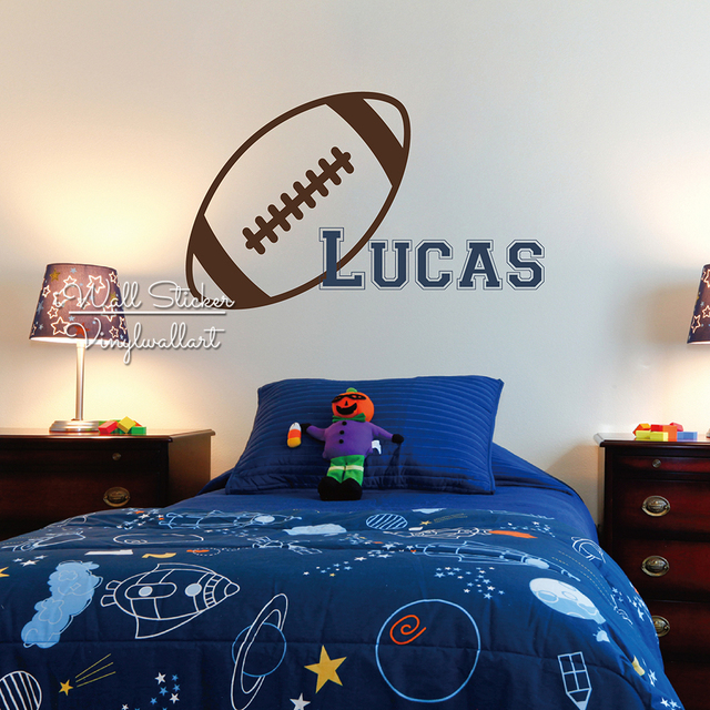 Cartoon Rugby Boys Name Wall Sticker Kids Name Wall Decal Personalized Rugby Name Stickers Baby Nursery Cut Vinyl Stickers C59