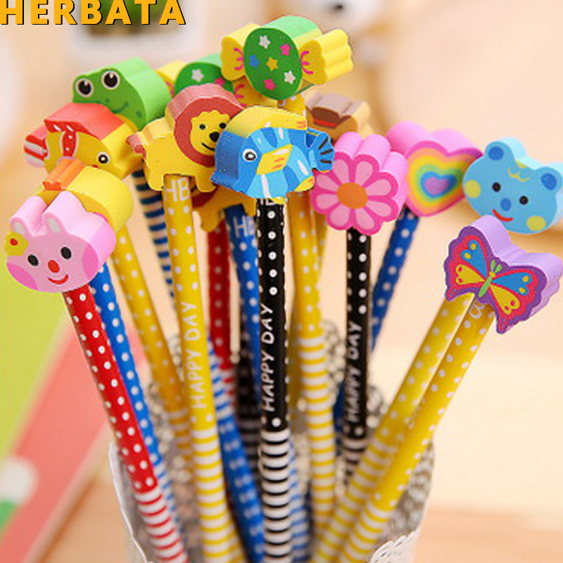 1pc Cute Wooden Animals Students Standard Pencil With Shakable Head Children Cute Study Cartoon Personality Kids Pencil Gifts