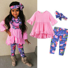 Pudcoco 3Pcs Toddler Kids Girls Cute Ruffles Blouse Tops + Floral Leggings Pants+ Headban Outfits Clothes Set