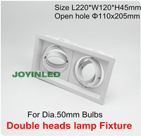 Double Heads Grille Light Fixture White Square Ceiling Cups For GU10 MR16 Bulb Spot Lamps Halogen