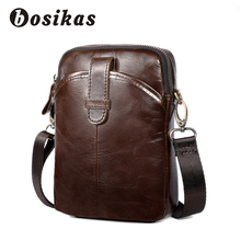 купить BOSIKAS Genuine Leather Men Bag Fashion Leather Crossbody Bag Shoulder Men Messenger Bags Vintage Designer Handbag Man Bag bolsa по цене 1110.49 рублей