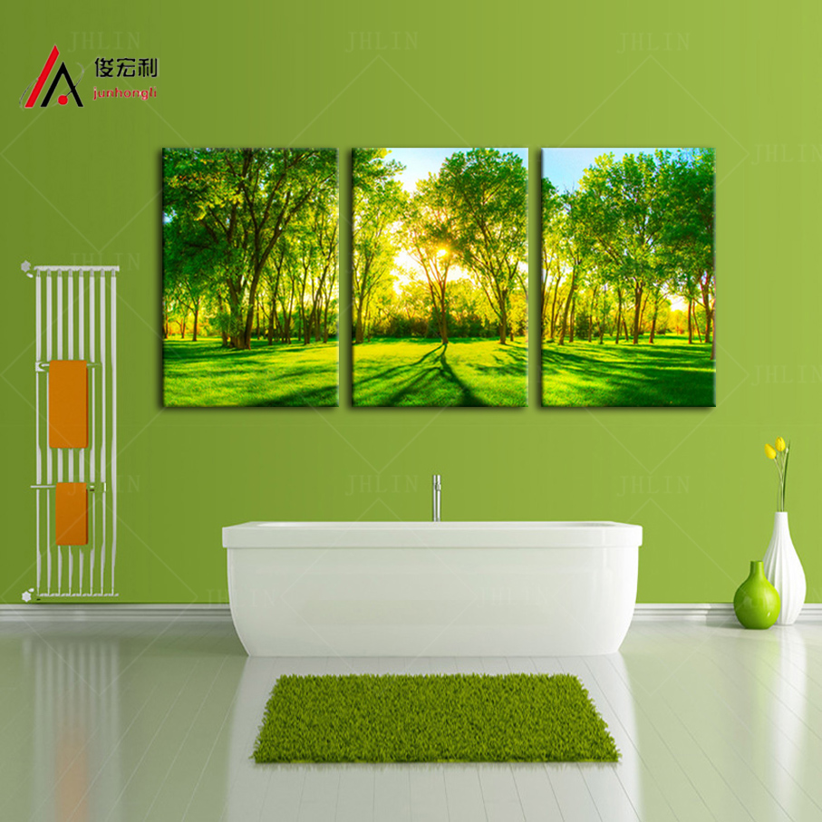 3 Piece Home Decoration Artwork Canvas Print Sunshine Forest Green Trees Park Large Photo Modular Picture Wall Art Free shipping