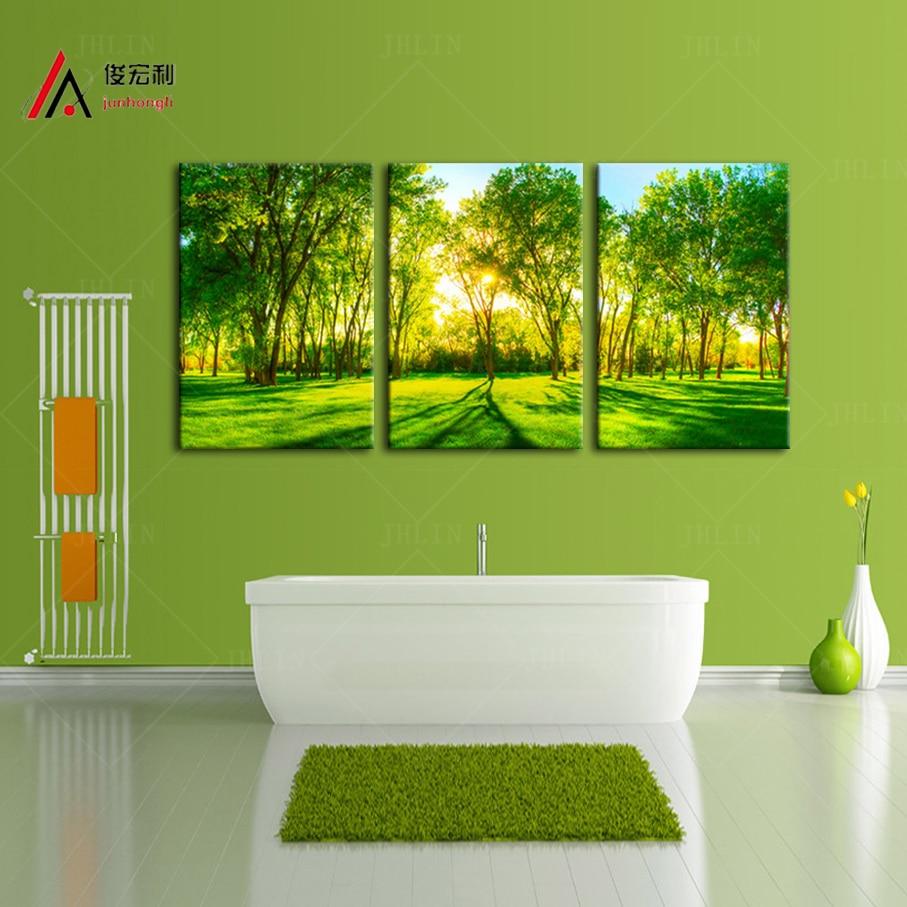 3 piezas Decoración del hogar Obra de arte Impresión de la lona Sunshine Forest Green Trees Park Foto grande Imagen modular Arte de la pared Envío gratis