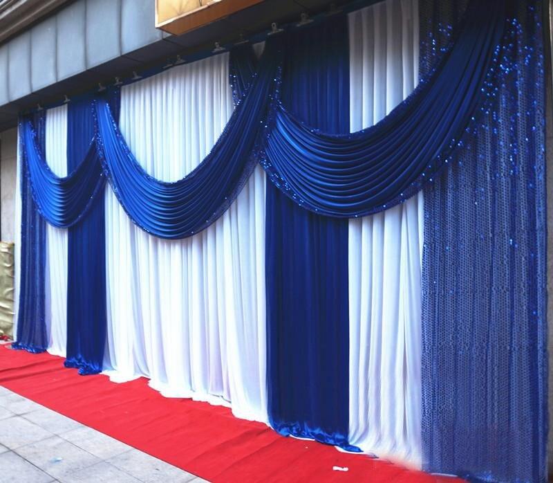 3*6 M glace Slik tissu paillettes brillantes fête de mariage toile de fond rideau événement Banquet fond avec rideaux détachables bleu Royal