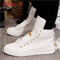 2016 Men's White / Black High Top Shoes Spring and Autumn Fashion PU Leather Footwear For Man Casual Shoe sapato masculino