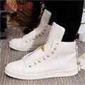2016 hombre Blanco/Negro High Top Zapatos Primavera y otoño de La Manera de LA PU de Cuero Calzado Para Hombre Casual Shoe sapato masculino
