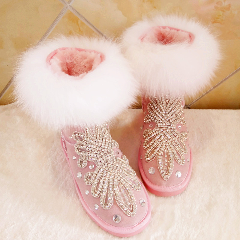 New Winter Ankle Snow Boots Genuine Leather Women Fashion Warm Shoes Cow Leather High Quality Lady Short Boots Fox Fur fox fur warm autumn winter wedges snow fox snow women australia boots shoes genuinei mitation lady short boots casual long snow
