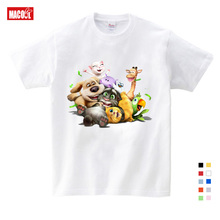 2019 Cartoon Printed Children Summer Cotton T-shirt Talking Cat Game Boy/girl Tops Breathable Comfort T Shirt Funny