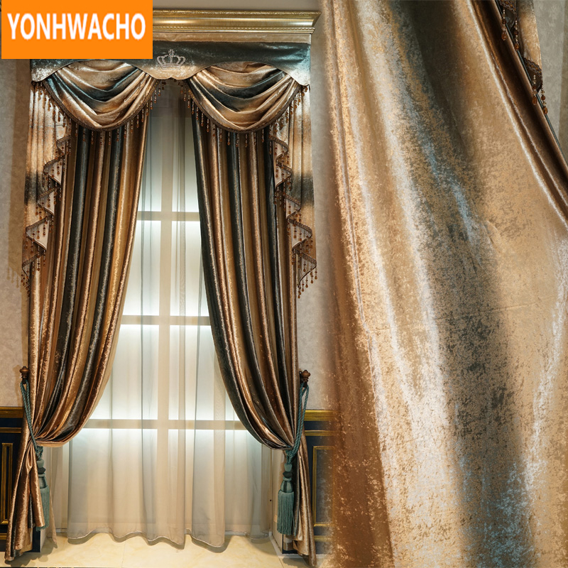 Huayin Velvet Linen Curtains Tulle Window Curtain For: Custom Curtains Simple Velvet Embroidered Yarn Floor To