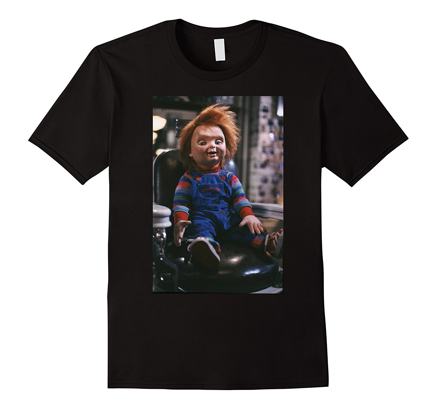 Chucky Sitting In Barber Chair T-shirt 100% Cotton Short Sleeve O-Neck Top Tee T Shirt Summer Famous Clothing Plus Size ...