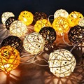 Creative Rattan Sepak Takraw Lights 10m 38 LED String Lights Garlands Villa Fence Beach Bar Wedding Christmas Party Decorations