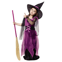 2017 Halloween Costumes Girl Black Fly Witch Costume Fancy Dress and Hat Cap Party Cosplay Clothing for Kids Girl Children