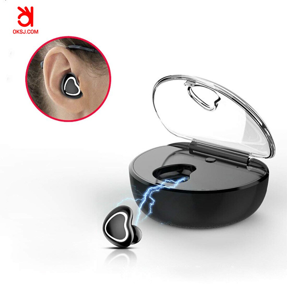 OKSJ Mini Bluetooth Earphone TWS-7 Headset Wireless Earbud Bluetooth Earphone in ear Sports with Mic Earbuds Charging Box new arrival syllable d900 mini headphone bluetooth 4 1 stereo wireless in ear earphone bluetooth headset mini earbud with mic