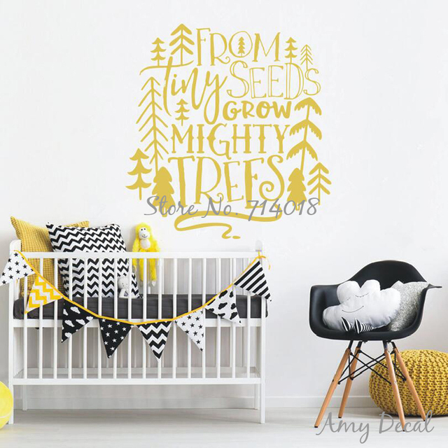 From Tiny Seeds Grow Mighty Trees Wall Sticker Quotes Woodland Nursery  Quote Vinyl Wall Sticker Gold Part 70
