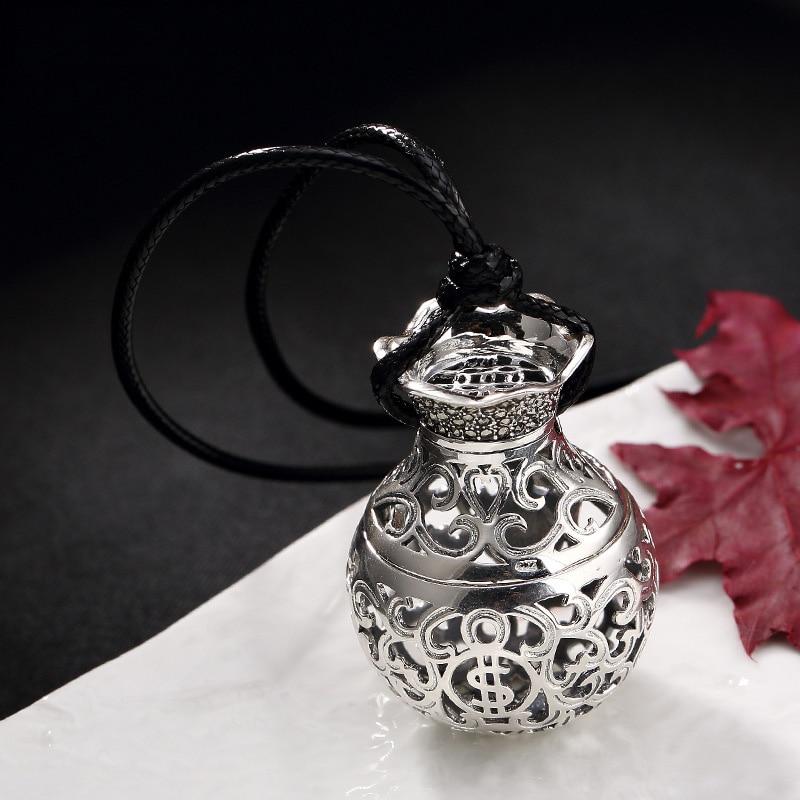 Réel Pur Argent 925 Bijoux Pendentif Pour Femmes Diffuseur Collier Ouvrable Ethniques Grande Fleur Moneybag Pendentif Pendule