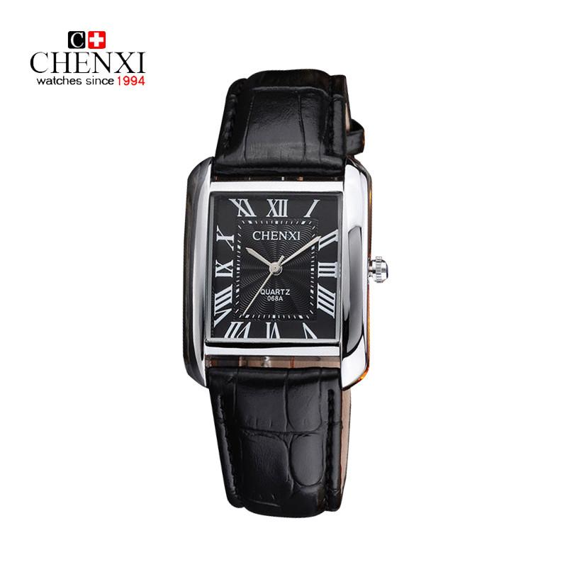 400256e92ae CHENXI Black Leather Lovers Watches Rectangle Model Clock Roman Numerals  Relojes Men Women Retro Quartz Wrist watches Top Brand