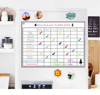 Magnetic Dry Erase Calendar Board for Fridge A3 16.5''x11.8'' Weekly Magnetic Whiteboard Planner Board With Free 8 Pen - DISCOUNT ITEM  57% OFF All Category
