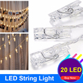 3xAA Battery Christmas New Year Party Wedding Holiday Decoration Lighting 20Leds 5M Led Fairy Lights Card Photo Clip String Lamp