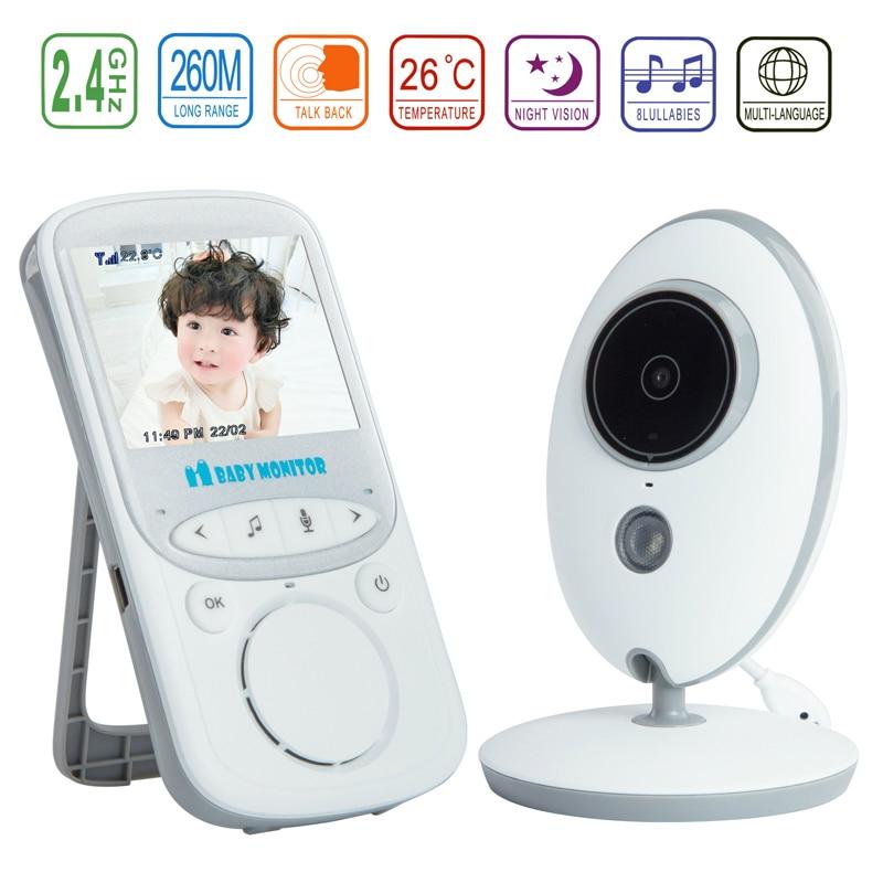 2.4 นิ้วสีจอแอลซีดีไร้สายดิจิตอลเสียงวิดีโอรักษาความปลอดภัยเด็กนอนตรวจสอบ 2 ทางพูดคุย Night Vision ตรวจสอบอุณหภูมิ