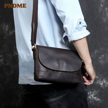 PNDME casual simple first layer cowhide mens shoulder bag outdoor vintage fashion waterproof daily small messenger bags