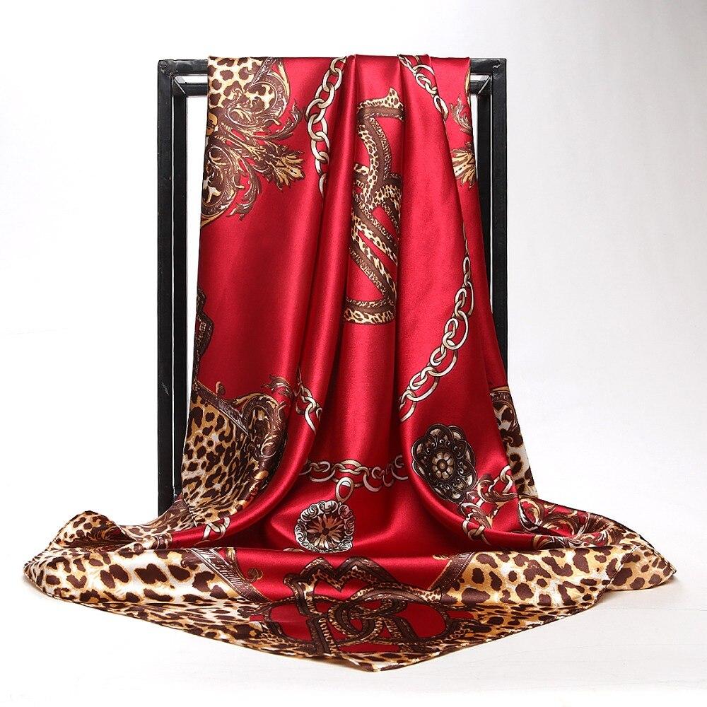 Hijab Head   Scarf   Women Fashion Leopard Chain Print Satin Square   Scarves   Autumn Genuine Silk   Scarves   Foulard Shawls   Wraps   90*90cm