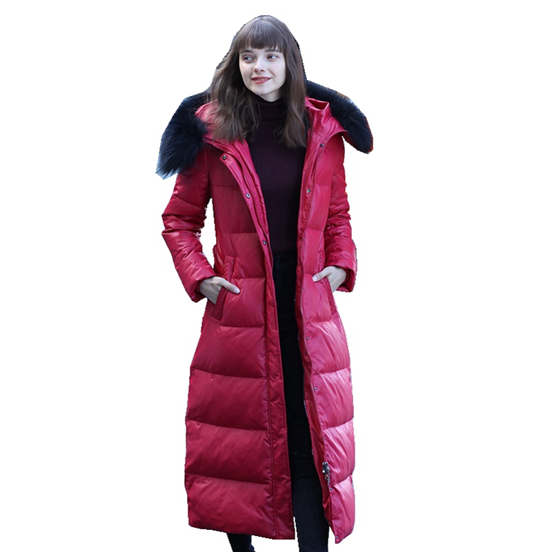 Autumn Winter Women Parkas   Down     Coats   Real Raccoon Fur Hoody 90% Duck   Down   Lady X-Long Outerwear Overcoat LF5201