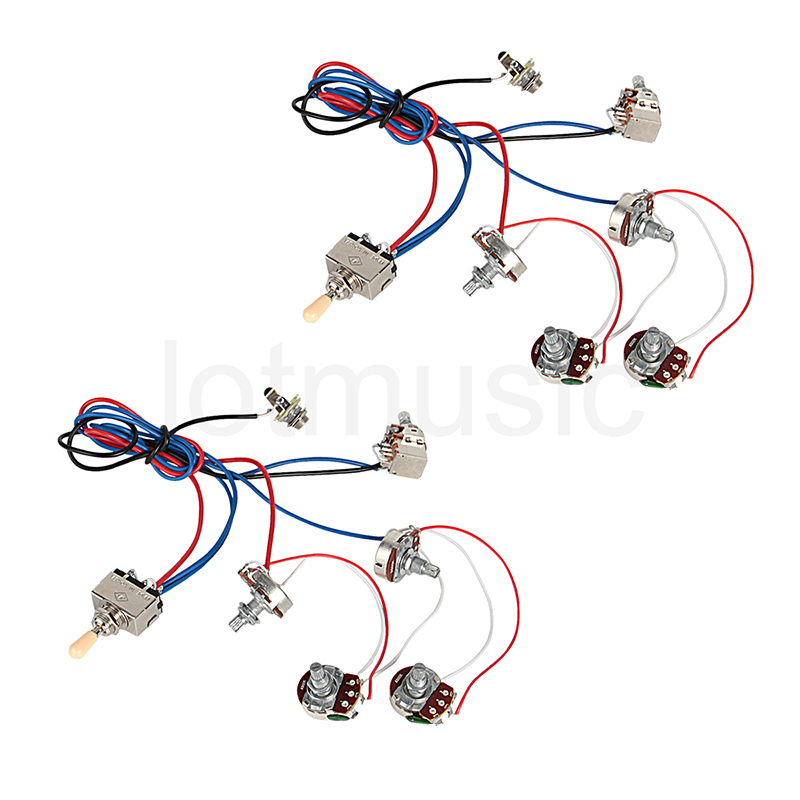 electric guitar wiring harness kit 2v2t pot jack 3 way switch forelectric guitar parts set of 2. Black Bedroom Furniture Sets. Home Design Ideas
