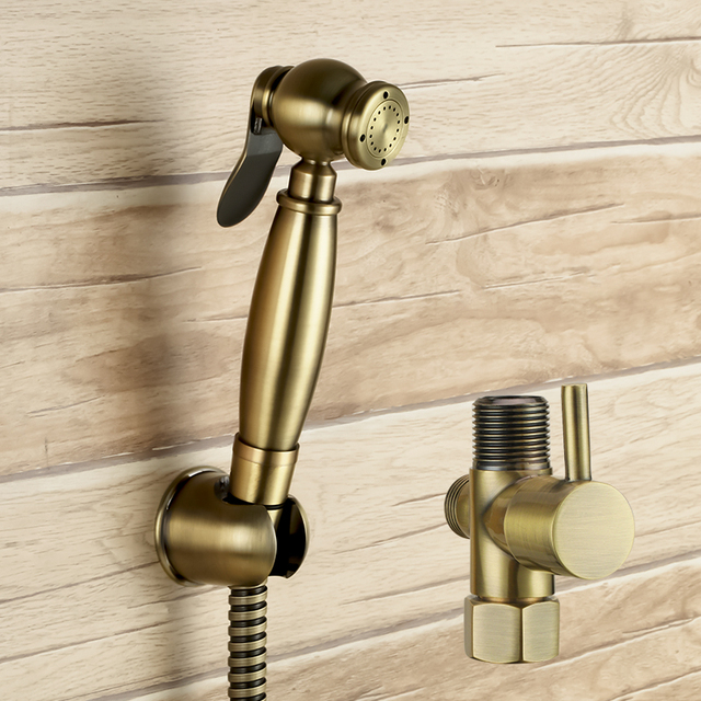 With 7/8*7/8*1/2 T adapter 3 way diverter Antique brass hand held ...