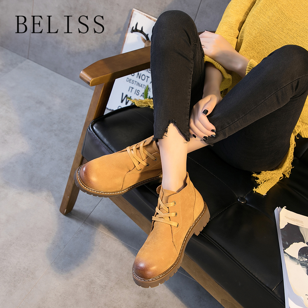 BELISS 2018 autumn winter ankle boots for women buckle soft cow leather fashion short boots ladies woman boots shoes heels B86BELISS 2018 autumn winter ankle boots for women buckle soft cow leather fashion short boots ladies woman boots shoes heels B86